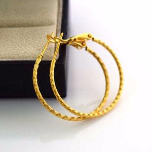"Jewelry - 24K Yellow Gold Filled Hoop Earrings 30mm or 1.18"""